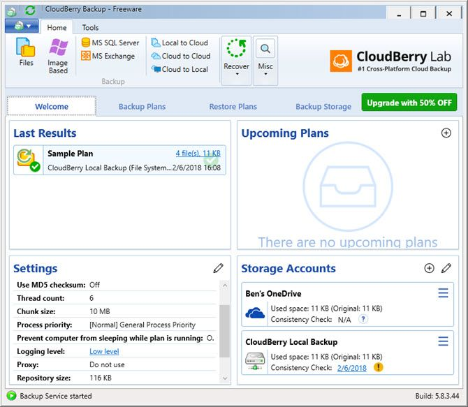 CloudBerry Backup Protects Files on Windows, Mac, and Linux 13 CloudBerry Backup Welcome Tab