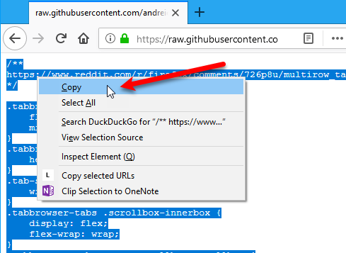 15 Power User Tips for Tabs in Firefox 57 Quantum 56 Select Copy for github CSS code