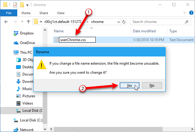 15 Power User Tips for Tabs in Firefox 57 Quantum 61 Change file extension dialog