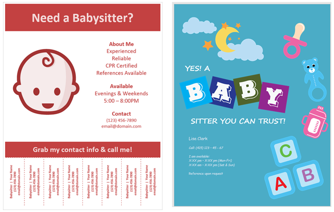 How To Make Flyers In Microsoft Word With Free Templates - Babysitting flyer template microsoft word free