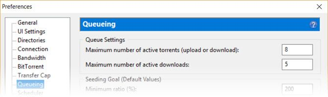 BitTorrent Settings for Queueing