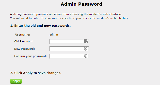 Router changing password