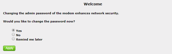 Change router password message