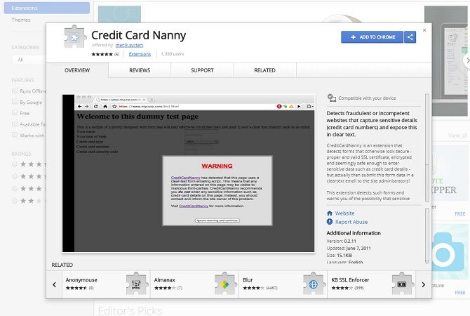 chrome security extensions - credit card nanny
