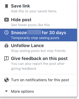 How to Stop Facebook Friends or Pages From Taking Over Your Feed FB Snooze 1