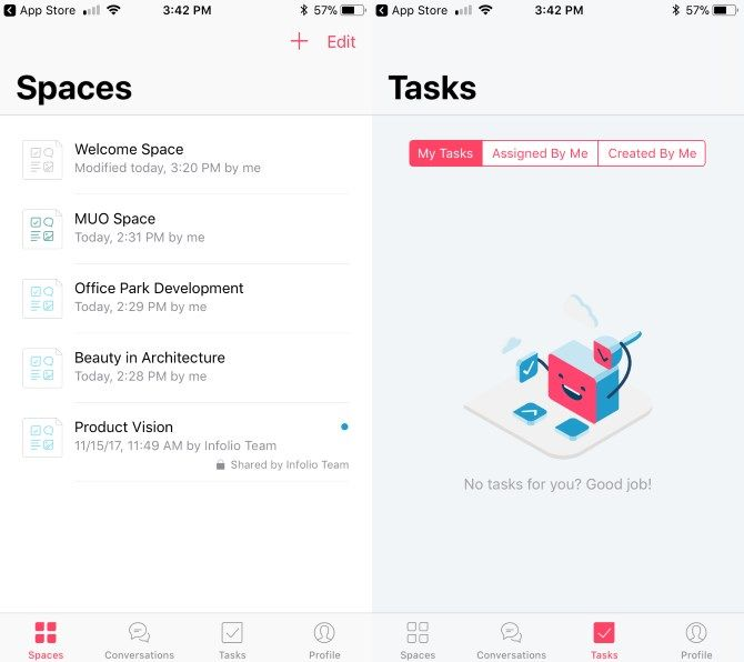 How Infolio Can Help Your Team Collaborate Like Never Before Infolio iOS Spaces and Tasks
