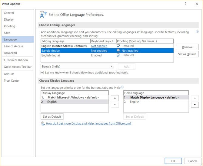 Microsoft Office Change Language