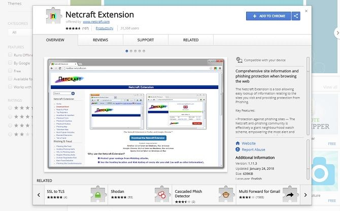 chrome security extensions - netcraft extension