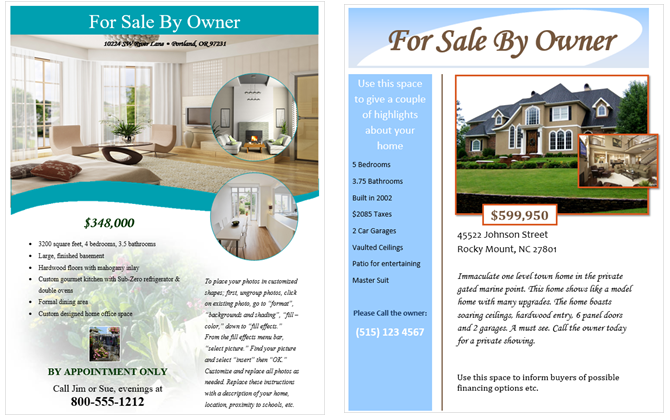 for sale by owner flyer templates for microsoft word