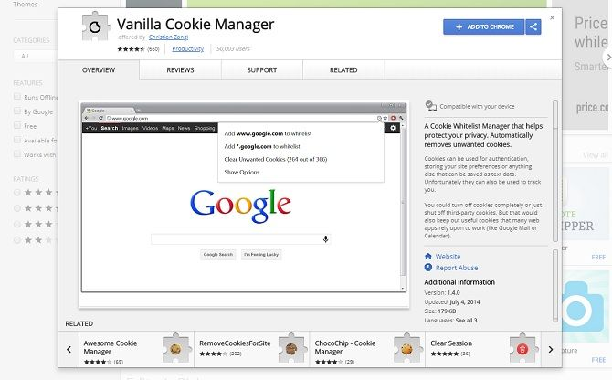 chrome security extensions - vanilla cookie manager
