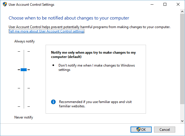 user account control settings in windows