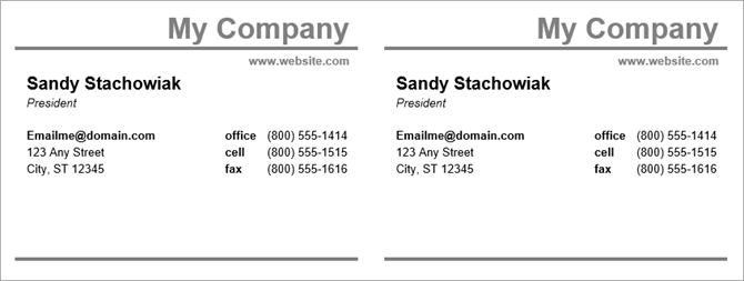 business cards template word