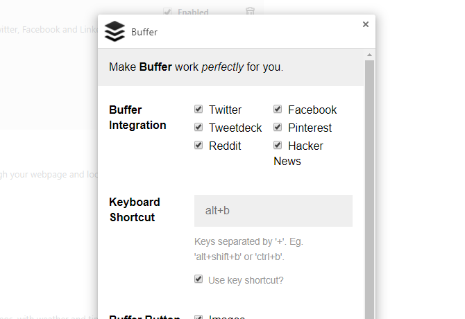 Buffer extension options