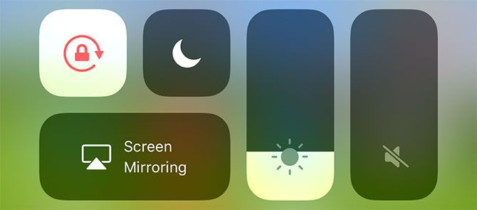 iOS Control Center Screen Options