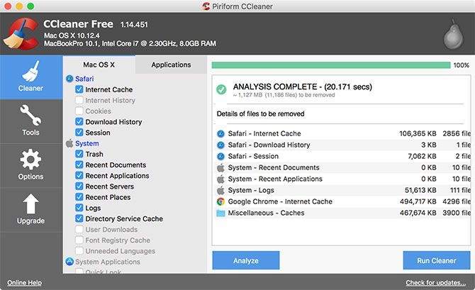 CCleaner Mac Clear Caches