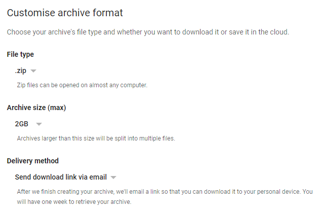 Create Gmail archive