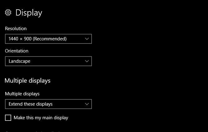 multiple displays windows 10 - display options