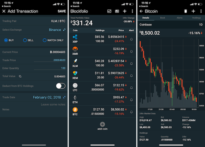 iPhone Cryptocurrency apps - blockfolio