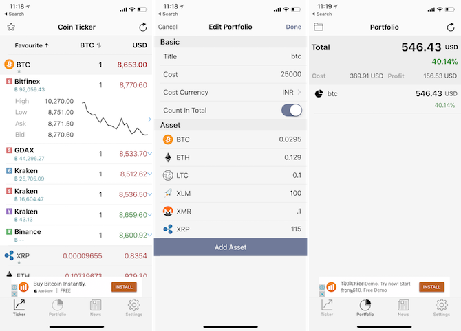 iPhone Cryptocurrency apps -coin ticker