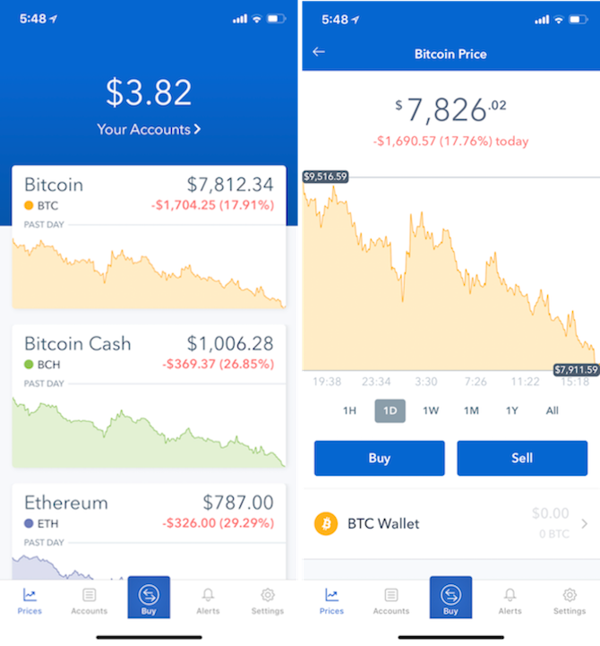 iPhone Cryptocurrency apps - coinbase