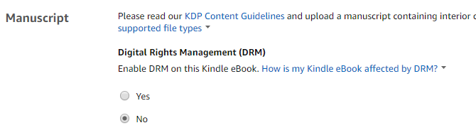 Adding DRM to your Kindle book (or not)