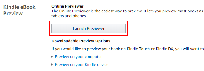 Launch Previewer button for previewing a Kindle book