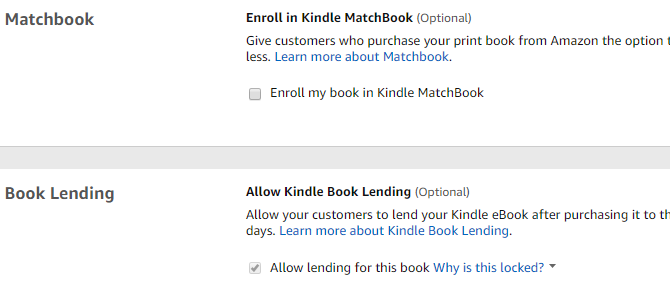 Amazon KDP Matchbook and Book Lending options