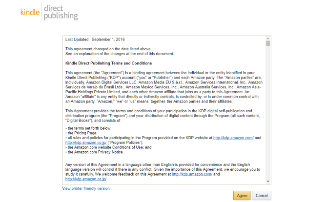 Amazon Kindle Direct Publishing terms and conditions