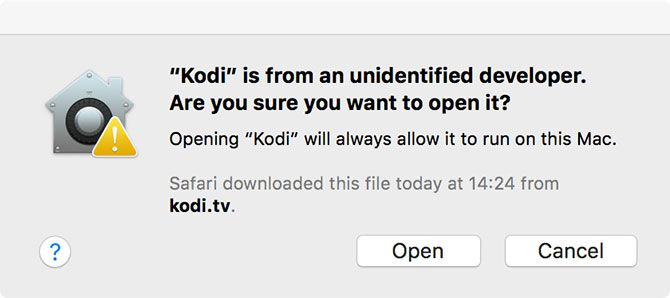 Kodi Open Security Warning Mac