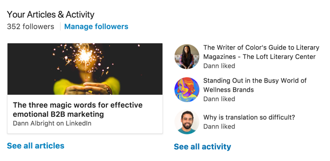 LinkedIn's profile articles and activity view