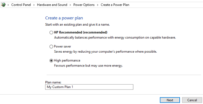 Create a new power plan in Windows 10