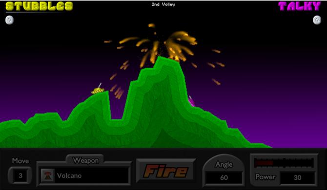 tank games - Pocket Tanks volcano shot