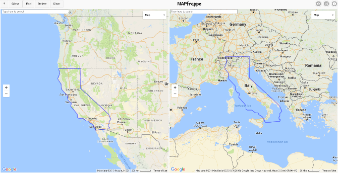 MAPfrappe: Draw An Outline, See It Replicated On Another Map
