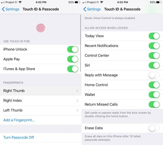 set up new iphone - Touch ID Settings
