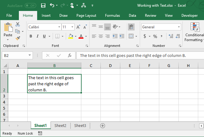 excel text functions - Text wrapped automatically in a cell