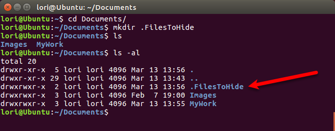 Create a new hidden folder using the Terminal in Linux