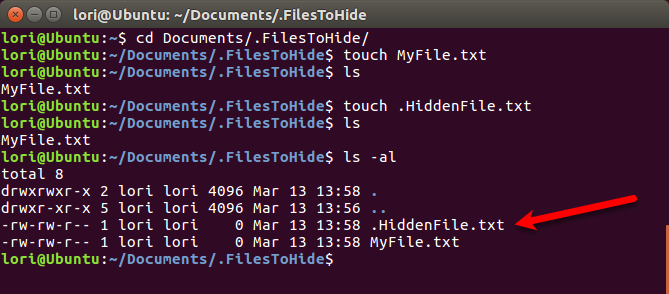 Create a new hidden file using the Terminal in Linux
