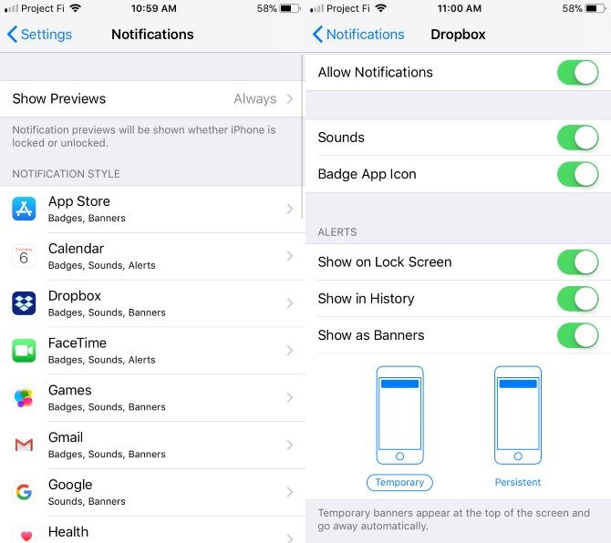 set up new iphone - Notification Settings