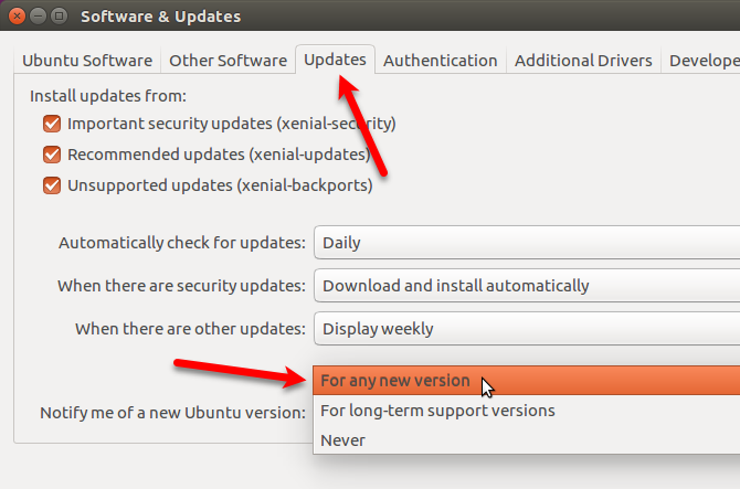 Change the setting to get notified of any new Ubuntu version