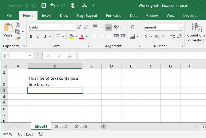 excel text functions - Result of manual line break