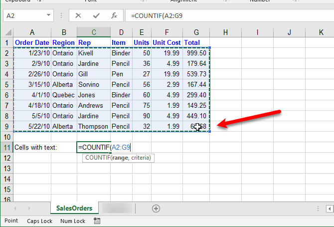 excel text functions - Select range for COUNTIF function