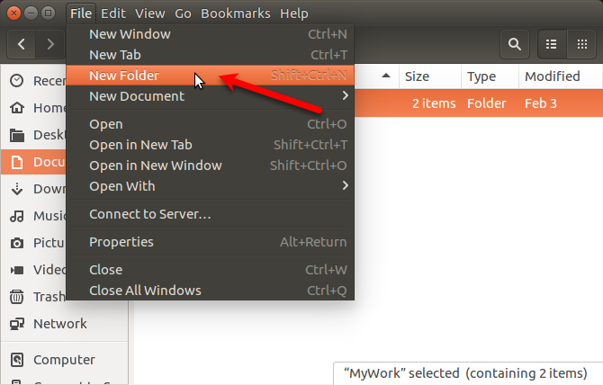 Go to File > New Folder in Nautilus in Ubuntu