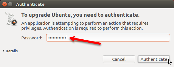 Authenticate for upgrade to Ubuntu 17.10