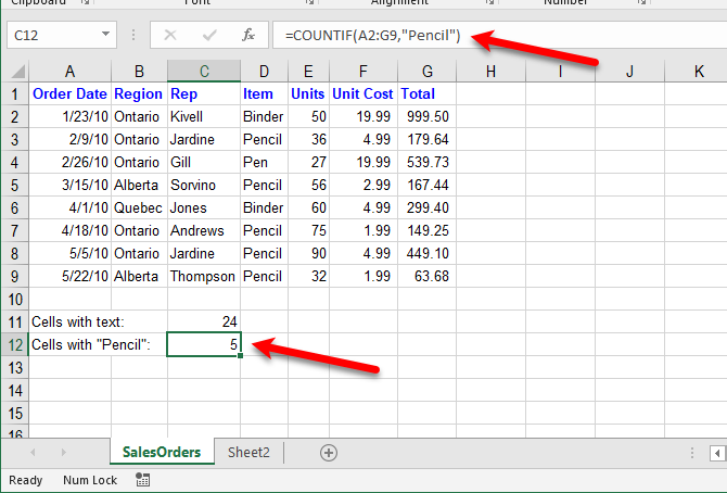 excel text functions - Count cells with specific text