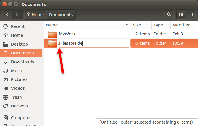 Rename a hidden folder in Nautilus in Ubuntu