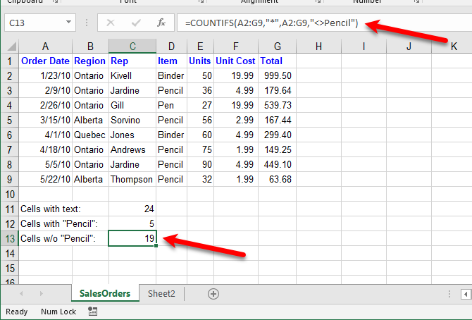 excel text functions - Count cells with text except for specific text