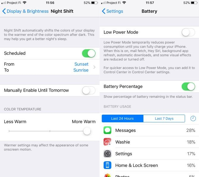 set up new iphone - Night Shift and Battery Settings