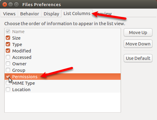 Check Permissions box in Files Preferences in Nautilus