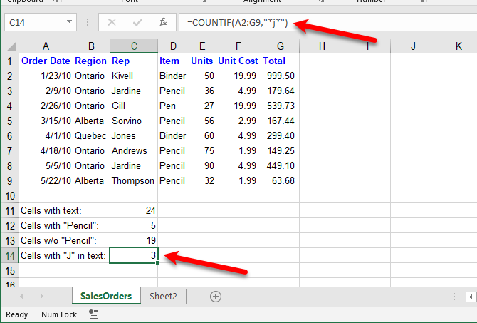 excel text functions - Count cells with specific text in any position