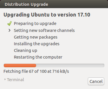 Distribution Upgrade dialog box